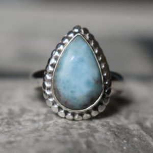 Shop Larimar Rings! 925 silver natural larimar ring-larimar-larimar ring-larimar silver ring-drop shape larimar ring-sky color larimar ring-larimar gemstone   Natural genuine Larimar rings, simple unique handcrafted gemstone rings. #rings #jewelry #shopping #gift #handmade #fashion #style #affiliate #ad