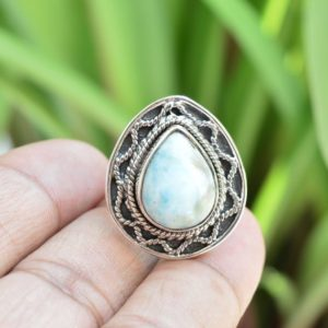 Shop Larimar Rings! Larimar Ring   925 Sterling Silver Rings   12×16 mm Pear Larimar Ring   Larimar Silver Jewelry   Simple Ring   Gift for Her   Promise Ring   Natural genuine Larimar rings, simple unique handcrafted gemstone rings. #rings #jewelry #shopping #gift #handmade #fashion #style #affiliate #ad