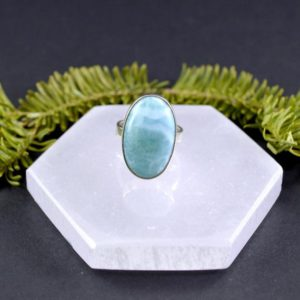 Shop Larimar Rings! Splash of Blue Larimar Ring // Larimar Jewelry // Sterling Silver // Village Silversmith   Natural genuine Larimar rings, simple unique handcrafted gemstone rings. #rings #jewelry #shopping #gift #handmade #fashion #style #affiliate #ad