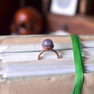 Shop Lepidolite Rings! LEPIDOLITE BALL ring size US, made to order, raw jewelry, copper electroformed, knuckle ring, midi ring, stacking ring, wiccan ring, magical | Natural genuine Lepidolite rings, simple unique handcrafted gemstone rings. #rings #jewelry #shopping #gift #handmade #fashion #style #affiliate #ad
