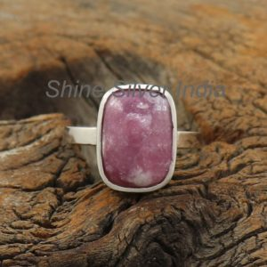 Shop Lepidolite Rings! Lepidolite Stone Ring, Sterling Silver Ring, Jasper Stone Ring, Statement Ring, Agate Silver Ring, Handmade Ring, Bohemian Ring,Gift For Her | Natural genuine Lepidolite rings, simple unique handcrafted gemstone rings. #rings #jewelry #shopping #gift #handmade #fashion #style #affiliate #ad