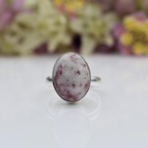 Shop Lepidolite Rings! Lepidolite Stone Ring, Sterling Silver Ring, Oval Stone Ring, Statement Ring, Cabochon Gemstone Ring, Simple Band Ring, Natural Stone, Sale | Natural genuine Lepidolite rings, simple unique handcrafted gemstone rings. #rings #jewelry #shopping #gift #handmade #fashion #style #affiliate #ad