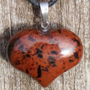 Shop Mahogany Obsidian Necklaces! Mahogany Obsidian Puffy Heart Healing Stone Necklace With Positive Healing Energy! | Natural genuine Mahogany Obsidian necklaces. Buy crystal jewelry, handmade handcrafted artisan jewelry for women.  Unique handmade gift ideas. #jewelry #beadednecklaces #beadedjewelry #gift #shopping #handmadejewelry #fashion #style #product #necklaces #affiliate #ad