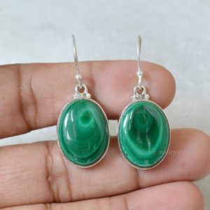 Shop Malachite Earrings! Natural Malachite Earrings, 925 Sterling Silver, Malachite 15×20 mm Oval Gemstone Earrings, Handmade Earrings, Women Earrings, Boho Earrings | Natural genuine Malachite earrings. Buy crystal jewelry, handmade handcrafted artisan jewelry for women.  Unique handmade gift ideas. #jewelry #beadedearrings #beadedjewelry #gift #shopping #handmadejewelry #fashion #style #product #earrings #affiliate #ad