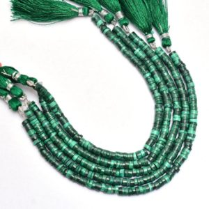 Shop Malachite Bead Shapes! Natural Malachite Gemstone 5mm Smooth Heishi Beads   8inch Strand   Green Malachite Semi Precious Gemstone Loose Coin / Spacer Loose Beads   Natural genuine other-shape Malachite beads for beading and jewelry making.  #jewelry #beads #beadedjewelry #diyjewelry #jewelrymaking #beadstore #beading #affiliate #ad