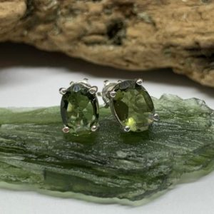 Shop Moldavite Jewelry! Powerful Czech Genuine Moldavite earring with screw back | Natural genuine Moldavite jewelry. Buy crystal jewelry, handmade handcrafted artisan jewelry for women.  Unique handmade gift ideas. #jewelry #beadedjewelry #beadedjewelry #gift #shopping #handmadejewelry #fashion #style #product #jewelry #affiliate #ad