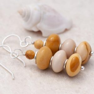 Shop Mookaite Jasper Earrings! Mookaite Earrings, Yellow Natural Stone Earrings, Cream And Mustard Yellow Earrings, 925 Sterling Silver Earrings   Natural genuine Mookaite Jasper earrings. Buy crystal jewelry, handmade handcrafted artisan jewelry for women.  Unique handmade gift ideas. #jewelry #beadedearrings #beadedjewelry #gift #shopping #handmadejewelry #fashion #style #product #earrings #affiliate #ad