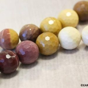 """Shop Mookaite Jasper Faceted Beads! L/ Mookaite 18mm/ 16mm Faceted Round beads 16"""" strand Natural red and yellow color beads Origin Australia 