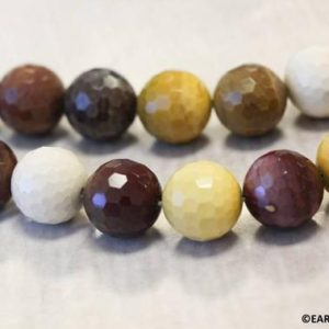 """Shop Mookaite Jasper Faceted Beads! M/ Mookaite 14mm/ 12mm/ 10mm Faceted Round beads 16"""" strand Mixed red and yellow color beads Origin Australia 