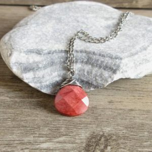 Shop Mookaite Jasper Jewelry! Mookaite Pendant, Sterling Silver Necklace, Rustic Jewelry, Scarlet Red, Minimalist Stone Necklace | Natural genuine Mookaite Jasper jewelry. Buy crystal jewelry, handmade handcrafted artisan jewelry for women.  Unique handmade gift ideas. #jewelry #beadedjewelry #beadedjewelry #gift #shopping #handmadejewelry #fashion #style #product #jewelry #affiliate #ad