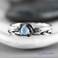 Moonstone Flower Ring Set, Sterling Silver Moonstone Engagement Ring Set With Braided Band, Flower Promise Ring For Women | Moonkist Designs | Natural genuine Gemstone jewelry. Buy handcrafted artisan wedding jewelry.  Unique handmade bridal jewelry gift ideas. #jewelry #beadedjewelry #gift #crystaljewelry #shopping #handmadejewelry #wedding #bridal #jewelry #affiliate #ad