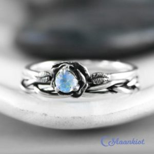 Shop Moonstone Rings! Moonstone Flower Ring Set, Sterling Silver Moonstone Engagement Ring Set with Braided Band, Flower Promise Ring for Women | Moonkist Designs | Natural genuine Moonstone rings, simple unique alternative gemstone engagement rings. #rings #jewelry #bridal #wedding #jewelryaccessories #engagementrings #weddingideas #affiliate #ad