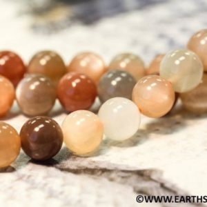 """Shop Moonstone Round Beads! M/ Multi Moonstone 8mm/ 6mm Smooth Round beads 16"""" strand Mixed color of peach / brown / gray moonstone beads for jewelry making 