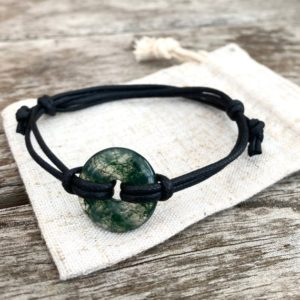 Shop Moss Agate Bracelets! Gemstone rustic bracelet for man, moss agate adjustable bracelet, vegan bracelet gift for success. | Natural genuine Moss Agate bracelets. Buy crystal jewelry, handmade handcrafted artisan jewelry for women.  Unique handmade gift ideas. #jewelry #beadedbracelets #beadedjewelry #gift #shopping #handmadejewelry #fashion #style #product #bracelets #affiliate #ad