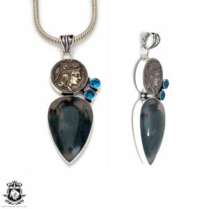 Shop Moss Agate Pendants! Moss Agate Reissued Coin Pendant 4MM Italian Snake Chain P8682 | Natural genuine Moss Agate pendants. Buy crystal jewelry, handmade handcrafted artisan jewelry for women.  Unique handmade gift ideas. #jewelry #beadedpendants #beadedjewelry #gift #shopping #handmadejewelry #fashion #style #product #pendants #affiliate #ad