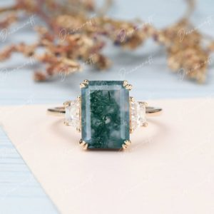 Shop Moss Agate Rings! Moss Agate engagement ring 4CT Emerald cut vintage moissanite 14k yellow gold 3 stone engagement ring Bridal ring anniversary gift for women   Natural genuine Moss Agate rings, simple unique alternative gemstone engagement rings. #rings #jewelry #bridal #wedding #jewelryaccessories #engagementrings #weddingideas #affiliate #ad