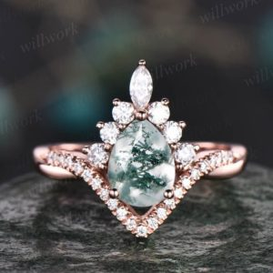 Shop Moss Agate Rings! Vintage moss agate ring gold for women Pear moss agate engagement ring halo art deco infinity moissanite ring anniversary promise ring gifts   Natural genuine Moss Agate rings, simple unique alternative gemstone engagement rings. #rings #jewelry #bridal #wedding #jewelryaccessories #engagementrings #weddingideas #affiliate #ad