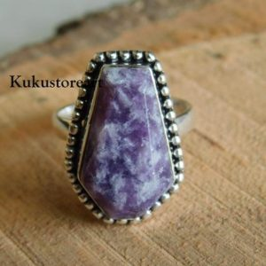 Shop Lepidolite Rings! Natural Lepidolite gemstone Ring* coffin ring* handmade ring* sterling silver ring*women ring* Lepidolite ring*gemstone ring* agate Ring* | Natural genuine Lepidolite rings, simple unique handcrafted gemstone rings. #rings #jewelry #shopping #gift #handmade #fashion #style #affiliate #ad