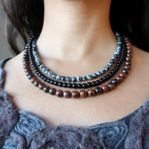 Shop Obsidian Necklaces! Obsidian Medley Necklace, 3-layer Black Mahogany Snowflake | Natural genuine Obsidian necklaces. Buy crystal jewelry, handmade handcrafted artisan jewelry for women.  Unique handmade gift ideas. #jewelry #beadednecklaces #beadedjewelry #gift #shopping #handmadejewelry #fashion #style #product #necklaces #affiliate #ad