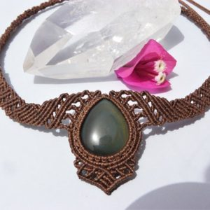 Natural Stone Jewelry Obsidian Necklace, Macrame Protection Necklace One of a Kind Spiritual Gift for Women.   Natural genuine Array necklaces. Buy crystal jewelry, handmade handcrafted artisan jewelry for women.  Unique handmade gift ideas. #jewelry #beadednecklaces #beadedjewelry #gift #shopping #handmadejewelry #fashion #style #product #necklaces #affiliate #ad