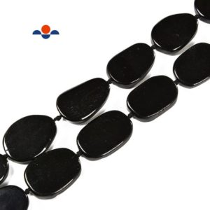 Natural Black Obsidian Flat Oval Beads Size 30x40mm 15.5'' Strand | Natural genuine other-shape Gemstone beads for beading and jewelry making.  #jewelry #beads #beadedjewelry #diyjewelry #jewelrymaking #beadstore #beading #affiliate #ad