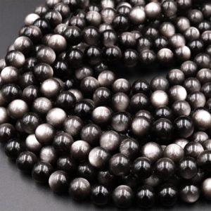 """Shop Obsidian Beads! Natural Silver Obsidian Beads 6mm 8mm 10mm AAA High Quality 15.5"""" Strand   Natural genuine beads Obsidian beads for beading and jewelry making.  #jewelry #beads #beadedjewelry #diyjewelry #jewelrymaking #beadstore #beading #affiliate #ad"""