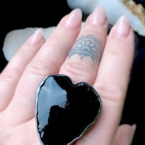 Shop Obsidian Rings! Black obsidian ring, statement ring, heart ring | Natural genuine Obsidian rings, simple unique handcrafted gemstone rings. #rings #jewelry #shopping #gift #handmade #fashion #style #affiliate #ad
