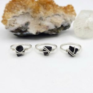 Shop Obsidian Rings! Obsidian Ring, Silver Wire Wrapped Ring | Natural genuine Obsidian rings, simple unique handcrafted gemstone rings. #rings #jewelry #shopping #gift #handmade #fashion #style #affiliate #ad