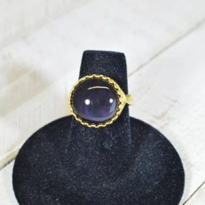 Shop Rainbow Obsidian Rings! Obsidian Ring, Velvet Obsidian Ring, Purple Obsidian, Rainbow Obsidian, Purple Velvet Obsidian Ring   Natural genuine Rainbow Obsidian rings, simple unique handcrafted gemstone rings. #rings #jewelry #shopping #gift #handmade #fashion #style #affiliate #ad
