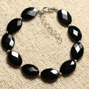 Shop Onyx Bracelets! Bracelet 925 sterling silver and stone – Onyx Black faceted ovals 14x10mm | Natural genuine Onyx bracelets. Buy crystal jewelry, handmade handcrafted artisan jewelry for women.  Unique handmade gift ideas. #jewelry #beadedbracelets #beadedjewelry #gift #shopping #handmadejewelry #fashion #style #product #bracelets #affiliate #ad