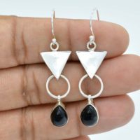 Black Onyx Earrings | 925 Sterling Silver Earrings | 7x10mm Pear Black Onyx Earrings | Onyx Jewelry | Gemstone Earrings | Drop Earrings | Natural genuine Gemstone jewelry. Buy crystal jewelry, handmade handcrafted artisan jewelry for women.  Unique handmade gift ideas. #jewelry #beadedjewelry #beadedjewelry #gift #shopping #handmadejewelry #fashion #style #product #jewelry #affiliate #ad