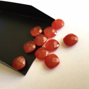 Shop Onyx Faceted Beads! 6 Pieces 10x10mm Each Red Onyx Faceted Cushion Shaped Loose Gemstones RO4 | Natural genuine faceted Onyx beads for beading and jewelry making.  #jewelry #beads #beadedjewelry #diyjewelry #jewelrymaking #beadstore #beading #affiliate #ad
