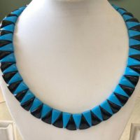 """Natural Black Onyx / howlite Turquoise Layout Necklace, Cleopatra Necklace, Graduated Collar Necklace, 14"""" 17mm 76 Piece, Gds1918 