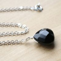 Black Onyx Necklace Silver . Faceted Gemstone Necklace Pendant . Gemstone Teardrop Necklace Black | Natural genuine Gemstone jewelry. Buy crystal jewelry, handmade handcrafted artisan jewelry for women.  Unique handmade gift ideas. #jewelry #beadedjewelry #beadedjewelry #gift #shopping #handmadejewelry #fashion #style #product #jewelry #affiliate #ad