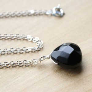 Shop Onyx Jewelry! Black Onyx Necklace for Women Sterling Silver . Faceted Gemstone Necklace Pendant . Black Stone Necklace Pendant | Natural genuine Onyx jewelry. Buy crystal jewelry, handmade handcrafted artisan jewelry for women.  Unique handmade gift ideas. #jewelry #beadedjewelry #beadedjewelry #gift #shopping #handmadejewelry #fashion #style #product #jewelry #affiliate #ad