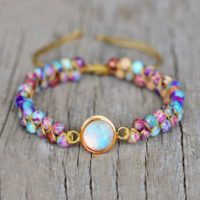 Opal Stone Bracelet-healing Meditation Natural Galaxy Sea Sediment Bracelet-spiritual Protection Inner Peace Anxiety Relief Bracelet | Natural genuine Gemstone jewelry. Buy crystal jewelry, handmade handcrafted artisan jewelry for women.  Unique handmade gift ideas. #jewelry #beadedjewelry #beadedjewelry #gift #shopping #handmadejewelry #fashion #style #product #jewelry #affiliate #ad