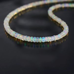 Natural Ethiopian Opal Plain Smooth Rondelles Neck-Piece,Beaded Necklace October Birthstone Gift For Her | Natural genuine Opal necklaces. Buy crystal jewelry, handmade handcrafted artisan jewelry for women.  Unique handmade gift ideas. #jewelry #beadednecklaces #beadedjewelry #gift #shopping #handmadejewelry #fashion #style #product #necklaces #affiliate #ad