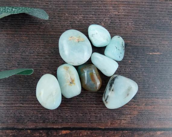Opal Tumbled Stones, Reiki Infused Blue Opal Wire Wrapping Self Care Healing Crystals