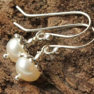 White Pearl Sterling Silver Earrings natural white gemstone bridal wedding bridesmaid dainty dangle drops June birthstone gift for her 4405 | Natural genuine Gemstone earrings. Buy handcrafted artisan wedding jewelry.  Unique handmade bridal jewelry gift ideas. #jewelry #beadedearrings #gift #crystaljewelry #shopping #handmadejewelry #wedding #bridal #earrings #affiliate #ad