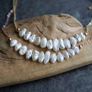Freshwater Pearl Necklace, Real Pearl Necklace, Cultured Pearl Necklace, Baroque Pearl Necklace, June Birthstone Jewelry | Natural genuine Pearl necklaces. Buy crystal jewelry, handmade handcrafted artisan jewelry for women.  Unique handmade gift ideas. #jewelry #beadednecklaces #beadedjewelry #gift #shopping #handmadejewelry #fashion #style #product #necklaces #affiliate #ad