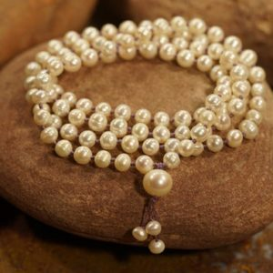 Pearl Mala Necklace • Freshwater Pearl Necklace • 6mm-7mm • Natural Pearl Necklace • Mermaid Necklace • Elegant Necklace • Pearl Mala • 3595 | Natural genuine Gemstone necklaces. Buy crystal jewelry, handmade handcrafted artisan jewelry for women.  Unique handmade gift ideas. #jewelry #beadednecklaces #beadedjewelry #gift #shopping #handmadejewelry #fashion #style #product #necklaces #affiliate #ad