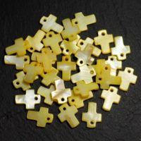 10pc – Beads Pendants Charms Cross 12mm Yellow Pearl Clear Pastel – 8741140003439 | Natural genuine Gemstone jewelry. Buy crystal jewelry, handmade handcrafted artisan jewelry for women.  Unique handmade gift ideas. #jewelry #beadedjewelry #beadedjewelry #gift #shopping #handmadejewelry #fashion #style #product #jewelry #affiliate #ad