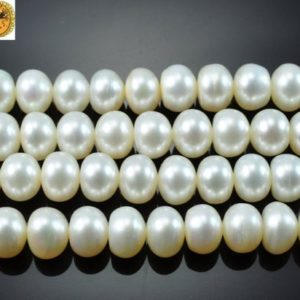 Shop Pearl Rondelle Beads! Freshwater Pearl,15 inch full strand Freshwater Pearl smooth rondelle button beads 6-7mm 7-8mm 8-9mm for Choice | Natural genuine rondelle Pearl beads for beading and jewelry making.  #jewelry #beads #beadedjewelry #diyjewelry #jewelrymaking #beadstore #beading #affiliate #ad