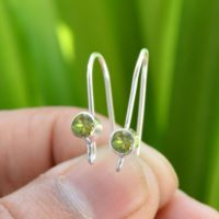 Peridot Earrings, Peridot 4×4 Mm Faceted Gemstone Earrings, 925 Silver Earrings, Tiny Earrings, Handmade Earrings, Peridot Jewelry, Earrings | Natural genuine Gemstone jewelry. Buy crystal jewelry, handmade handcrafted artisan jewelry for women.  Unique handmade gift ideas. #jewelry #beadedjewelry #beadedjewelry #gift #shopping #handmadejewelry #fashion #style #product #jewelry #affiliate #ad