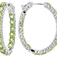 Natural Peridot Inside Out Hoop Earrings In Platinum Over Sterling Silver (8 G) 8.9 Ctw, august Birthstones, gift For Her | Natural genuine Gemstone jewelry. Buy crystal jewelry, handmade handcrafted artisan jewelry for women.  Unique handmade gift ideas. #jewelry #beadedjewelry #beadedjewelry #gift #shopping #handmadejewelry #fashion #style #product #jewelry #affiliate #ad