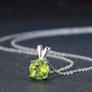 Shop Peridot Necklaces! 8mm Natural Round Cut Peridot 925 Sterling Silver Simple Pendent Chain Necklace Women Jewelry Anniversary Gift For Her | Natural genuine Peridot necklaces. Buy crystal jewelry, handmade handcrafted artisan jewelry for women.  Unique handmade gift ideas. #jewelry #beadednecklaces #beadedjewelry #gift #shopping #handmadejewelry #fashion #style #product #necklaces #affiliate #ad