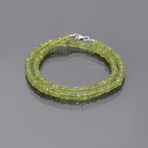 Shop Peridot Necklaces! Natural Peridot Bead Necklace, 5mm Peridot Green Beaded Necklace, AAA Peridot Faceted Roundel Beads Necklace, Gift For Her, Women's Necklace | Natural genuine Peridot necklaces. Buy crystal jewelry, handmade handcrafted artisan jewelry for women.  Unique handmade gift ideas. #jewelry #beadednecklaces #beadedjewelry #gift #shopping #handmadejewelry #fashion #style #product #necklaces #affiliate #ad
