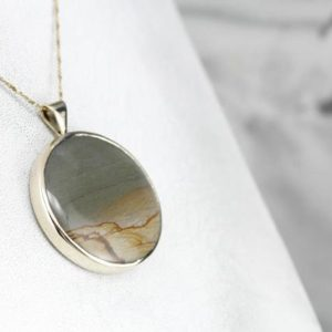 Shop Picture Jasper Pendants! Sleek Picture Jasper Statement Pendant in Yellow Gold 9HMCC8-P | Natural genuine Picture Jasper pendants. Buy crystal jewelry, handmade handcrafted artisan jewelry for women.  Unique handmade gift ideas. #jewelry #beadedpendants #beadedjewelry #gift #shopping #handmadejewelry #fashion #style #product #pendants #affiliate #ad