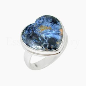 Shop Pietersite Rings! Blue Pietersite Ring, Handmade Ring, 925 Sterling Silver, Heart Gemstone, Statement Ring, Simple Band Ring, Cabochon Gemstone, Boho Ring | Natural genuine Pietersite rings, simple unique handcrafted gemstone rings. #rings #jewelry #shopping #gift #handmade #fashion #style #affiliate #ad