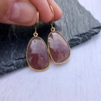 Pink Sapphire Earrings, Pink Teardrop Gold Earrings, September Birthstone, Natural Sapphire Statement Jewelry, Elegant Holiday Gift For Her | Natural genuine Gemstone jewelry. Buy crystal jewelry, handmade handcrafted artisan jewelry for women.  Unique handmade gift ideas. #jewelry #beadedjewelry #beadedjewelry #gift #shopping #handmadejewelry #fashion #style #product #jewelry #affiliate #ad